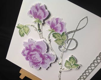 Floral Music Card -  For Her