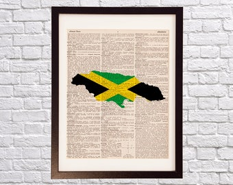 Jamaica Dictionary Art Print - Kingston Art - Print on Vintage Dictionary Paper - Jamaican Flag, Any Color - Montego Bay, Spanish Town