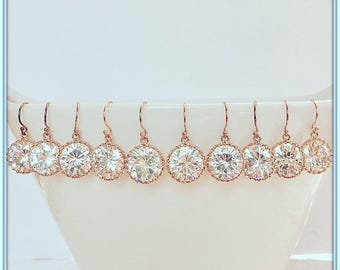 14K Rose Gold Filled Bridal Earrings,Rhodium or Gold Plated Dangling Round CZ Stones,Bridesmaids Earrings,Wedding Jewelry,Rose Gold Bezels