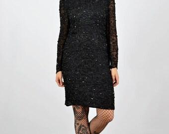 Vintage 80's Black Beaded Sequin Trophy Dress