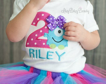 Girls Monster Birthday Shirt - Monster First Birthday - Second Birthday - Monster Shirt - Girls Birthday outfit