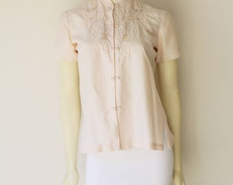 80's Vintage Cream Silk Mandarin Collar Hand Embroidered Short Sleeve Blouse