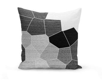 Black Grey Throw Pillow Cover, Throw Pillow Cover, Mosaic Throw Pillow Cover, Black Grey White