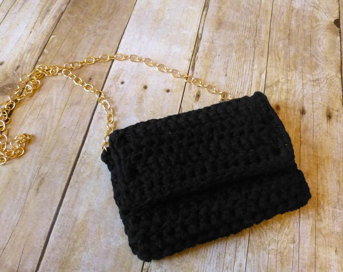 Black Crochet Clutch Bag - Black Crochet Clutch Purse - Black Clutch Bag - Black Clutch Purse - Womens Black Clutch - Girls Black Clutch
