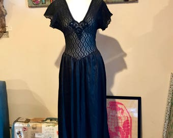 Vintage 90's Black Lace Bodice Lingerie, Full Length Negligee Size S