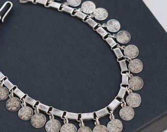 Vintage Silver Bracelet - 950 Silver Bracelet -  Boho Dangle Silver Bracelet
