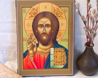 Russian Icon Jesus Christ Pantocrator Orthodox icon Byzantine Icon Handpainted Icon Religious gifts Christian Home Decor Christian Wall Art