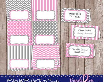 Pink Gray Birthday Baby Shower Digital Editable Printable Food Label Buffet Name Tags Tent Cards DIY
