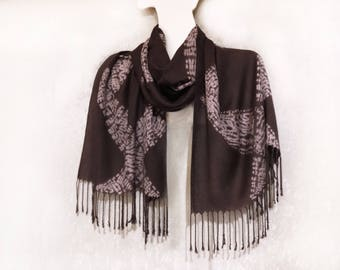 Hand dyed Large shibori scarf Tie dye Fringe shawl wrap Brown white Winter warm rayon stole Shoulder wrap Bohemian fashion