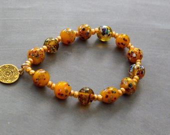 Unique Bracelet, Bohemian Bracelet, Beaded Stretch Bracelet, Charm Bracelet, Gift Under 20 Dollar, Gift For Her, Vintage Bracelet, Bohemian.