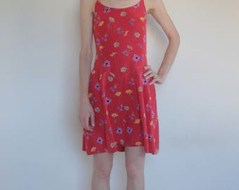 90's silk skating mini dress/ tailor made red floral/ spaghetti straps