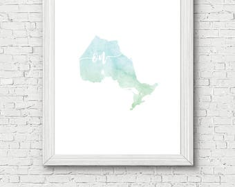 Ontario Province Printable - digital download, dorm decor, clean and simple, watercolor, minimalist art, canada province outline