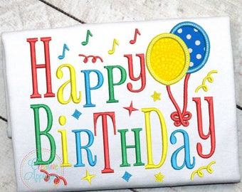 Happy Birthday Digital Machine Embroidery Applique Design 6 Sizes, birthday embroidery, birthday applique, happy birthday embroidery