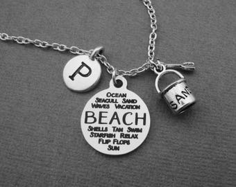 Beach Necklace, Beach and Sand Bucket Necklace, Beach Lovers Bangle Bracelet, Ocean Inspired Keychain, Sand Beach Vacation Initial Jewelry
