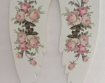 Distressed Cottage White Angel Wings w/ Pink Roses