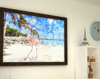 Tropical watercolor print, pink flamingo on the beach, 16x12 animal painting, watercolor digital art, flamingo poster, tropical decor,  #2