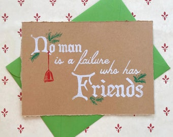 It's A Wonderful Life Card/Holiday Card/Christmas Card/Handprinted/Linocut