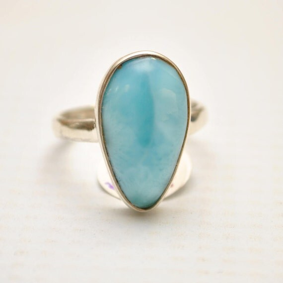 Sterling Silver Larimar Teardrop Ring Sz 6.75 #9349