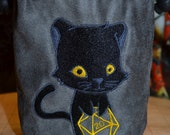 Dice Bag D20 Black Panther Cat Embroidered suede