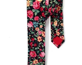 Black Floral Skinny Tie, Mens Floral Tie, Floral Skinny Tie, Mens Skinny Tie, Neck Tie for Men, Slim Ties, Mens Neck Wear, Mens Tie