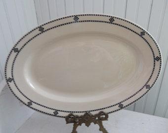 Inca Ware Shenango China - Mid Century Restaurant Ware - Heavy Deep Oval Platter with Black Checkerboard Pattern - Vintage Inca Ware Platter