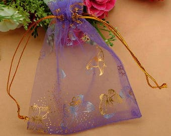 "Purple and Metallic Gold Organza Favor Bags w/Butterfly Print 3.8"" x 4.7"" ~ Perfect for Favors, Parties, Weddings, Gifts or Jewelry"