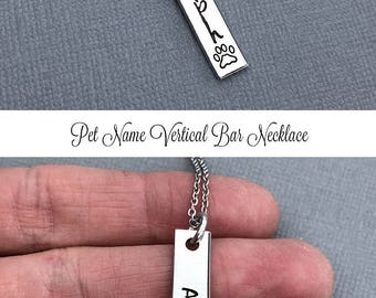 Dog Name Necklace, Paw Print Necklace, Personalized Necklace, Vertical Bar Necklace, Skinny Bar Necklace, Layering Necklace, Fur Mom Gift
