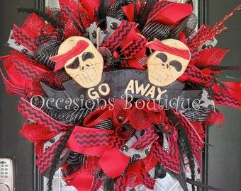 Large Halloween Wreath, Red and Black Halloween Decoration, Door Hanger, Front door wreath, Fall Wreath, Halloween Party Decor