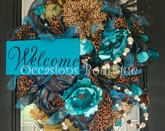 Fall Wreath, Autumn Wreath, Fall decoration, Brown and turquoise, Deco Mesh Wreath, Front door wreath, Door Hanger, Ready to ship