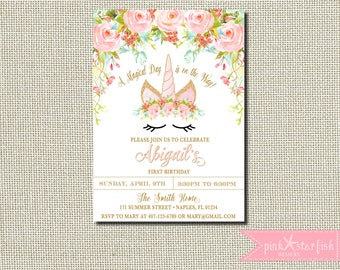 Unicorn Birthday Invitation, Magical Unicorn Invite, Floral Unicorn Invitation, Unicorn Face, Blush Pink Gold Unicorn Party, Pastel Flowers