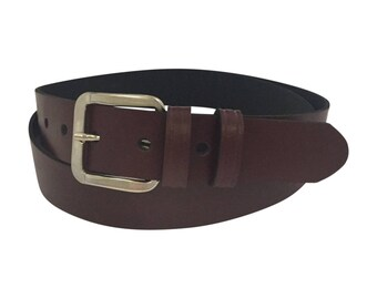 Oxblood Burgundy Leather belt for women & men. 30mm wide. Handmade in UK using 100% genuine leather with quality steel buckle.