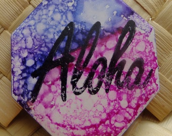 Ceramic Tile Magnet.  With hand stamped painted, Aloha!