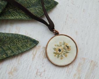 Hand Embroidered Necklace Pendant - Bouquet of Yellow, Peach, Flowers Roses - Cream Cotton - Copper Leather