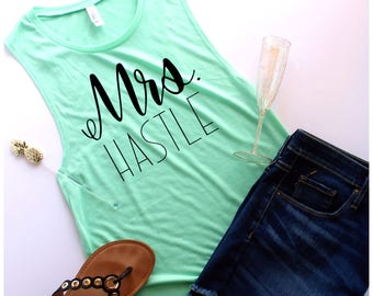 Custom Mrs. Muscle Tank, Customize Your Colors, S-XL, Bride Tank, Engagement Gift, Future Mrs, Bridal Gift, Bridal Party