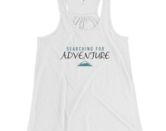 Adventure Inspired Tank / Searching for Adventure / Mountain / Vacation / Tank Top – Women's Flowy Racerback Tank