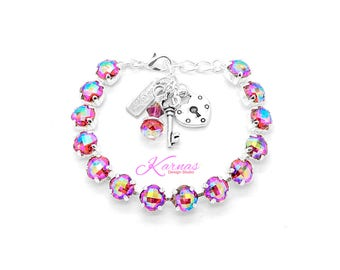 RISQUÉ 8mm Charm Bracelet Made With Swarovski Crystal *Choose Finish and Size *Karnas Design Studio™ *Free Shipping*