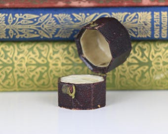 Antique Ring Box Octagonal Burgundy Engagement or Wedding Ring Box