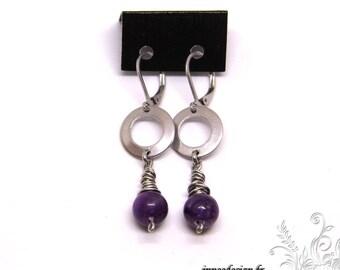 Lepidolite earrings and circle