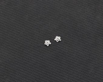 2Pcs 6mm Sterling Silver Beads Caps -- 925 Silver Charms Wholesale For Bridesmaid Gift Party YX-Y629-S02