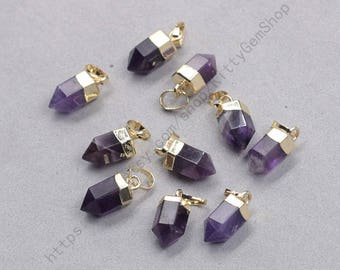 12mm Point Amethyst Pendants -- With Electroplated Gold Edge Gemstone Charms Wholesale Supplies YHA-337