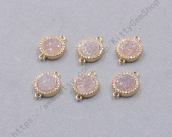 11mm Champange Agate Druzy Connectors With White Zircon And Electroplated Gold Edge Charms Wholesale Supplies YHA-346