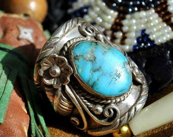 Vintage Native American Navajo Silver Sleeping Beauty Turquoise Ring • Signed D&J Clark