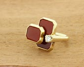 Lovely 18K Gold Carnelian Ring With .25ct Diamond