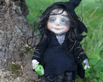 Margot, needle & wet felted OOAK doll