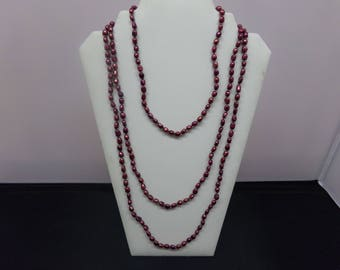 Super Long Necklace, Maroon Baroque Cultured Pearls
