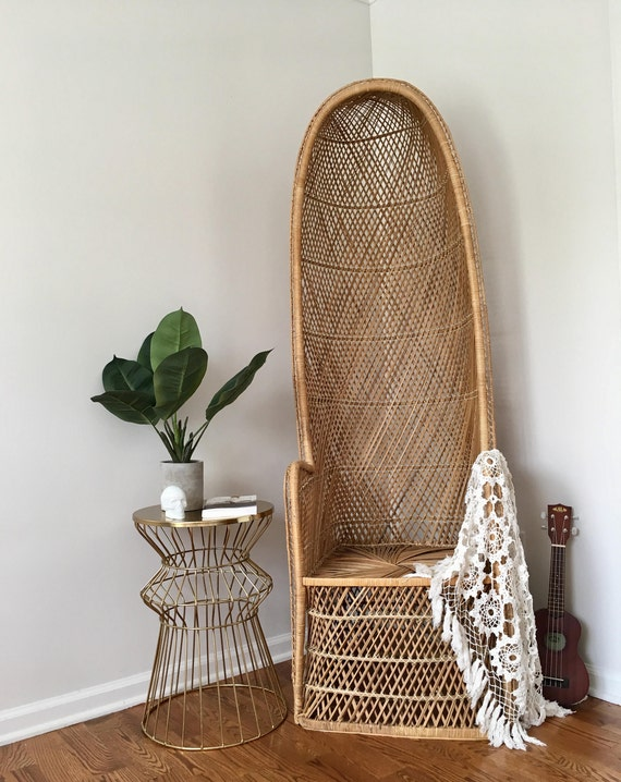 Vintage Woven Wicker Canopy Chair