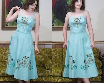 "1950s Blue Dress | Novelty | 50s Dress | 50s Sundress | Blue Sundress | Border Print | Halter Dress | Fit & Flare | Novelty Dress | 25"""