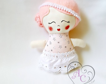 Small rag doll with a little retro look, little cloth doll, pink and white, pink hair, hand painted face, little girl's doll, girl's toy