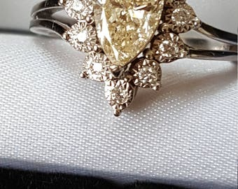 Pear Shape Champagne Diamond Cluster Ring with Triangular Shape Diamond Surround