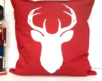 Stag Cushion | Christmas Cushion | Stag Decor | Red Christmas Cushion | Personalised Christmas Cushion | Festive Cushion | Stag | Stag Head